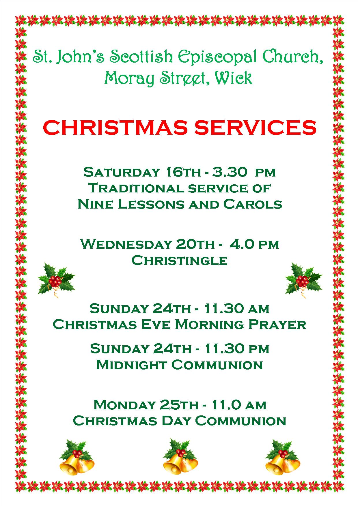 Christmas Services at St John The Evangelist, Wick - The United ...